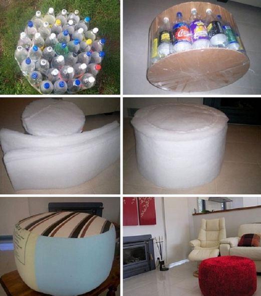 Cách làm ghế ngồi phòng khách từ chai nhựa đơn giản